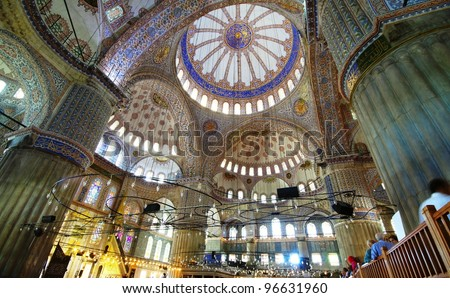 Interior of the Blue Mosque (Sultanahmet Mosque) in Istanbul, Turkey