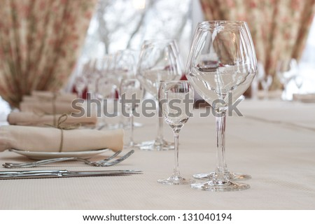 interior of the cafe in the style of Provence. table setting