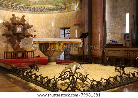 Interior of The Church of All Nations or Basilica of the Agony, Roman Catholic church near the Garden of Gethsemane at the Mount of Olives in Jerusalem, Israel - stock photo
