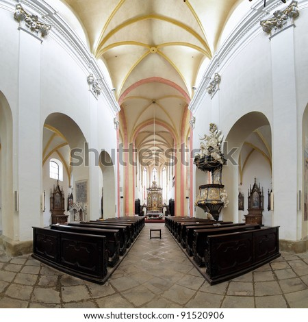 Interior of the Church of Presentation of Virgin Mary in Ceske Budejovice, Czech Republic