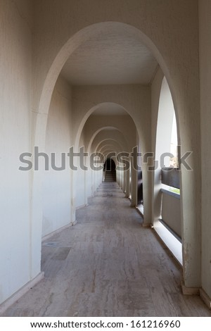 Interior of the corridor of modern hotel in arabian style