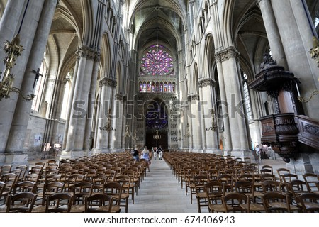 Interior Of The Gothic Cathedral Notre Dame De Reims A UNESCO World Heritage