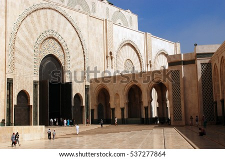 Interior of the Hassan mosque of Casablanca (Morocco)