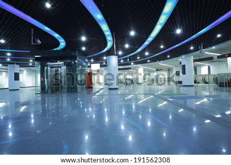 interior of the modern architectural in subway - stock photo
