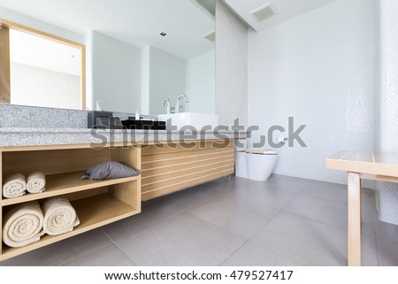 Interior of the modern design bathroom.