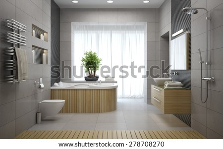Interior of the modern design bathroom 3D rendering  - stock photo