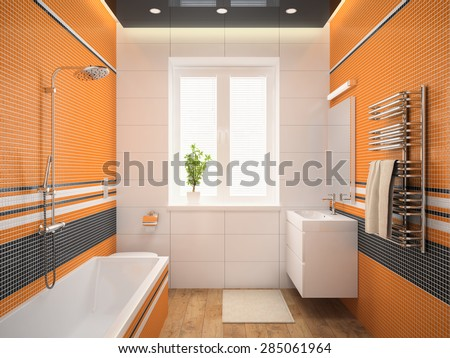 Interior of the modern design  bedroom with orange wall 3D rendering