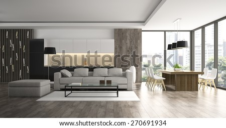 Interior of the modern design  loft  3D rendering  - stock photo