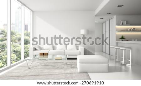 Interior of the modern design  loft in white  3D rendering  - stock photo