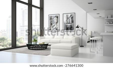 Interior of the modern design  loft  white color 3D rendering  - stock photo