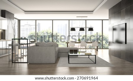 Interior of the modern design  loft  with black wall 3D rendering