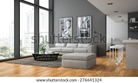 Interior of the modern design  loft with parquet floor 3D rendering  - stock photo