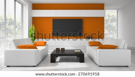 Interior of the modern design  room  3D rendering