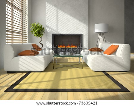 Interior of the modern living-room with fireplace 3D rendering - stock photo