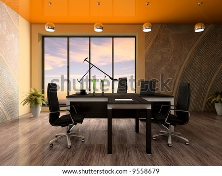 Interior of the modern office 3D rendering - stock photo