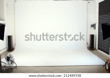 Interior of the modern photo studio - stock photo