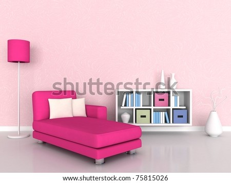 Interior of the modern room, pink wall and pink sofa - stock photo