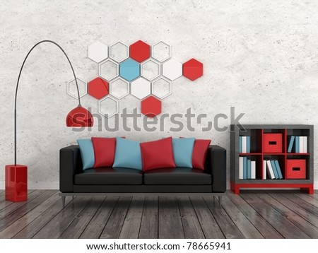 interior of the modern room, white wall, black sofa - stock photo