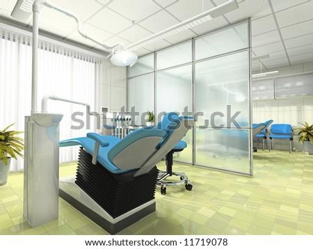 Interior of the modern stomatologic cabinet - stock photo