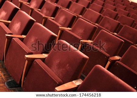Interior of the old red theatre, nobody - stock photo