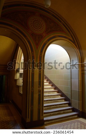 Interior of the  Old Residence of Bukovinian and Dalmatian Metropolitans, now Yuriy Fedkovych Chernivtsi National University - stock photo