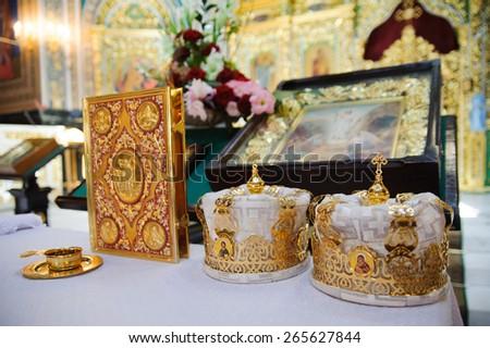 Interior of the Orthodox Church beautiful inside - stock photo