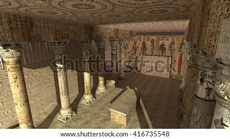 Interior of the painted and carved hypostyle hall  Temple. Ancient Egyptian temple, 3D render,3d illustration
