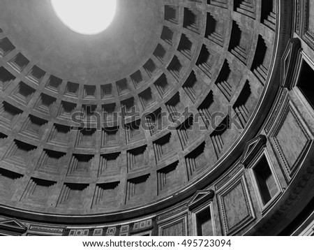 Interior of the Pantheon in Rome, Italy.  Looking up at the skylight, the only source of light to the structure.  Black and white image.