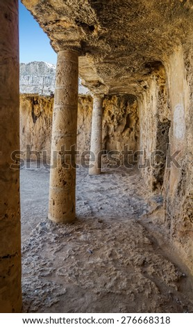 Interior of the Paphos necropolis known as Tombs of the Kings, Cyprus. - stock photo