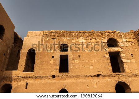 Interior of the Qasr Kharana, one of the best-known of the desert castles in eastern Jordan