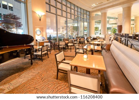 Interior of the restaurant of the luxury five stars hotel. Vancouver, Canada.