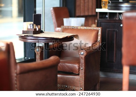 Interior of the restaurant pub in the afternoon - stock photo