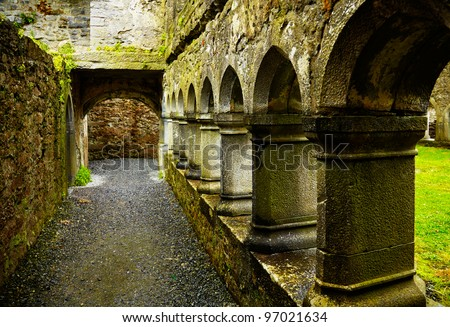 Interior of the Ross Friary in summertime on a rainy overcast day, Ireland. - stock photo