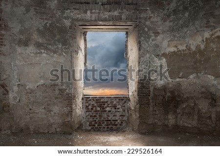 Interior of the ruins of an old abandoned castle in Transylvania - stock photo
