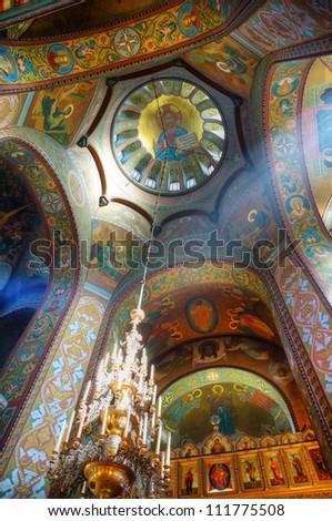 Interior of the Russian Orthodox church in Petergof - stock photo