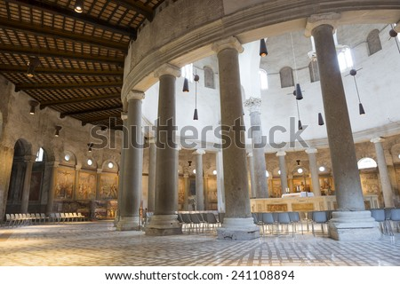 Interior of the Santo Stefano Rotondo Basilica ,Rome - stock photo