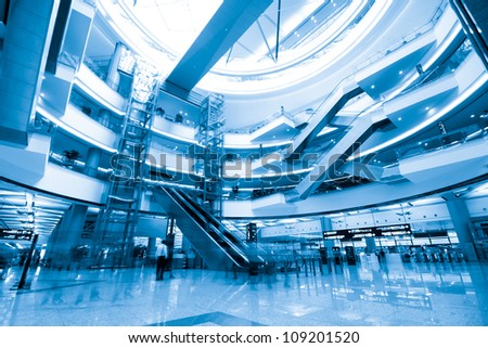 Interior of the shanghai pudong airport,modern indoors blackground. - stock photo