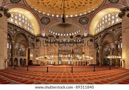 Interior of the Suleymaniye Mosque in Istanbul, Turkey - stock photo