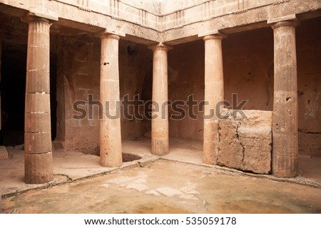 Interior of the tomb   in the Tombs of the King     s necropolis in Paphos  Cyprus Shutterstock