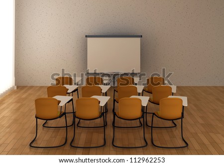 Interior of the training room with marker board and chairs.