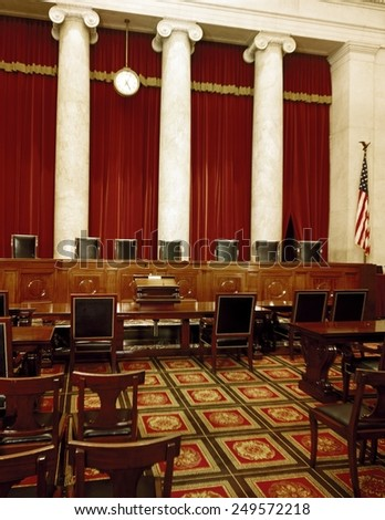 Interior of the U.S. Supreme Court, Washington, D.C. Ca. 1990. - stock photo