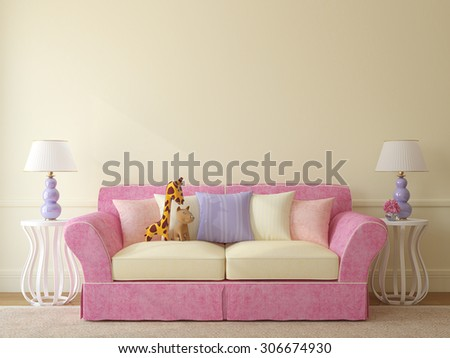 Interior of toddler room. Colorful couch near empty beige wall. 3d render. - stock photo