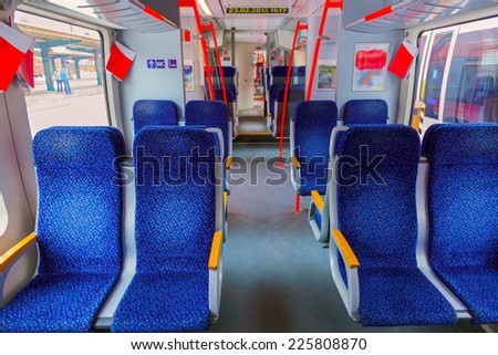 Interior of train - transportation travel background - stock photo