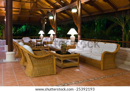 Interior of tropical hotel lobby, travel background - stock photo