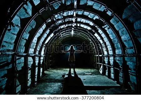 Interior of tunnel in abandoned coal mine - stock photo