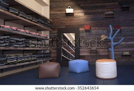 Interior of Upscale Clothing Store with Wood Wall Paneling, Plush Stools and Tree Shaped Coat Rack - Clothing Arranged Neatly on Wall Shelving Beside Mirror. 3d Rendering. - stock photo