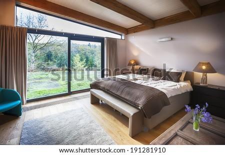 interior of villa in Belgian Ardennes - stock photo