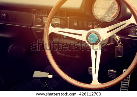 Interior of vintage classic car