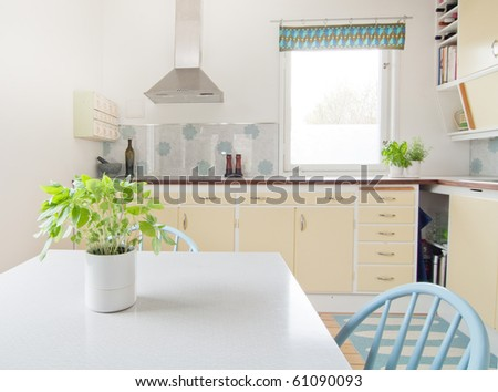 interior of vintage kitchen and a table with basil in the foreground - stock photo
