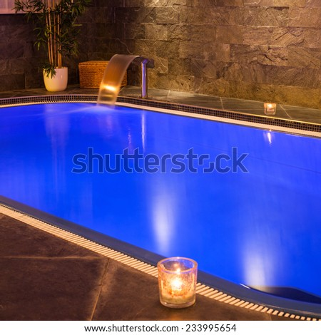 Interior of wellness and Spa swimming pool. - stock photo